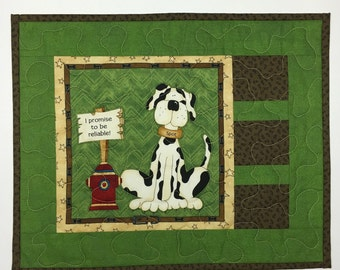 Dog Lovers Candle Mat, table topper, mini quilt, quilt, quilted mat, nightstand mat, dog food mat, snack mat