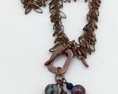 Antique Copper Shag Chain and Agate Necklace