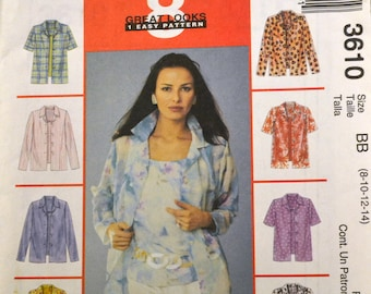 Sewing Pattern McCall's 3610  Misses' Shirts Bust 30-36 inches  UNCUT Complete