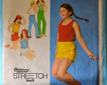 Vintage Sewing Pattern Simplicity 9053 Girls Pullover Tank, Halter, Pants, and Shorts Size 8-10-12 Complete
