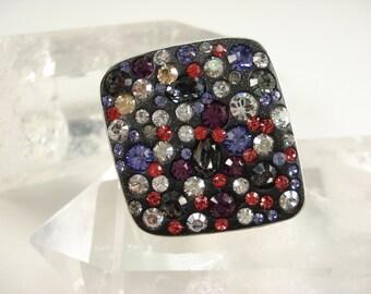 Ring, Sterling Silver, Swarovski Crystal, GOT, Bling, King, Queen, Dragon, Adjustable