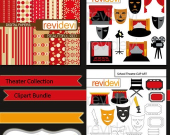 Theater drama clipart digital papers bundle sale / hollywood, movie night, proscenium, mask, drama / commercial use clip art