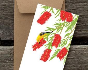 Bottlebrush and Prothonotory Warbler -- 8 blank flat cards and envelopes