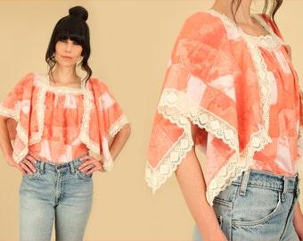 ViNtAgE 70's Patchwork Top // Tie Dye Babydoll Tunic Crop Top Lace Trim Bohemian Hippie Boho Medium M