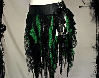 Black and Green Forest Faery Tatter Over Skirt, Size Medium - Ready to Ship - Gothic Wicca Festival EDC Rave Dance Pixie Fairy Belt