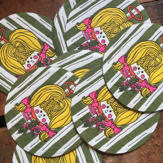 Vintage Christmas Coasters: Colorful Little Girl Angel - Set of 10 - Christmas, Holidays, Kitsch, Retro, Paper Coasters, Vintage Coasters