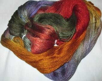 Hand dyed Tencel Yarn - 900 yds. Lace Wt. Tencel Yarn  TIGER LILY
