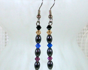 Beaded Earrings / Dangle Earrings / Hematite Jewelry / Handmade Earrings / Crystal Earrings / Hematite Earrings / Unique Earrings