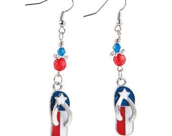 American Flag Flip Flop Earrings