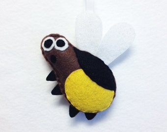 Lightning Bug Ornament, Christmas Ornament, Chapman the Lightning Bug - Made to Order, Felt Animal, Felt Insect, Bug