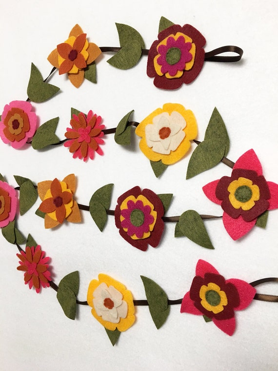 Flower Garland, Autumn Bloom, Felt Flower Garland, Room Decoration, Nursery Decor, Wedding, Party Decoration