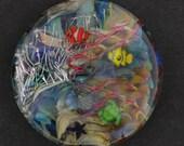 "Aquatic Fantasy 1"" Aquarium Bead with Clownfish, Jellyfish, & Parrotfish, Sea Turtle, Ocean Bead"