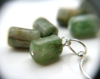 Green Kyanite Earrings . Life Force Energy Healing Jewelry . Light Green Gemstone Cluster Earrings - Qi Collection