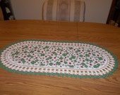St. Patricks Day Table Runner with Red Lady Bugs and Shamrocks on a White Glitter Background 16 X 36 Centerpiece