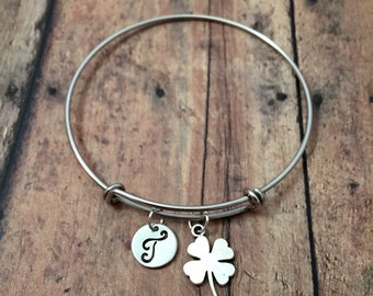 Four leaf clover initial bangle - clover jewelry, lucky clover bracelet, lucky charm bangle, four leaf clover bracelet, clover bangle