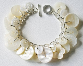 Button Bracelet Bright Pearly Creams and Whites