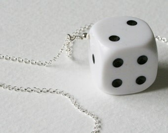 Big White Dice Charm Necklace Sterling Silver Chain