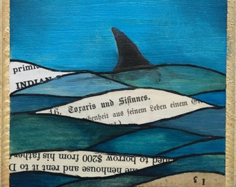 SALE 365 Day Challenge Painting #54 - A Shark in Book Water