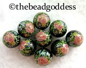 WHOLESALE SALE 9 Japanese TENSHA Beads Pink Roses on Black 10mm