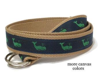Whale Belt / Mens Canvas Belt / Nautical D-ring Belt / Navy Ribbon Belt / Preppy Belt / Webbing Belt- Green Whales for men, teens Big & Tall