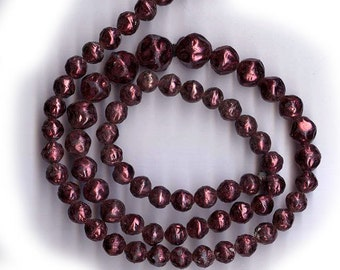 vintage glass pearls baroque SHABBY chic GRADUATED old strand PURPLE 4mm-8mm over 60 beads