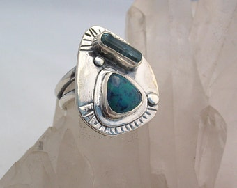 Shattucktite Ring, Chrysocolla Ring, Artisan Jewelry, Raw Aquamarine Crystal, Natural Stone Ring, Sterling Silver