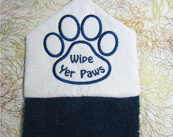 "PET TOWEL,  NAVY hanging embroidered pet towel, ""Wipe yer paws"", door hanging towel, dog towel, cat towel, navy-cream"
