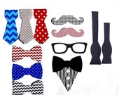 Baby Shower Hipster Set//Geeky Glasses// Moustaches//Tuxedo//Messy Tie// Necktie And Bow Tie// Iron On Applique Set//Baby Shower