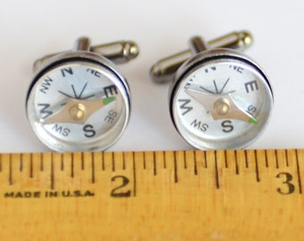 Graduation Gift, Large Compass Cufflinks, Steampunk Cufflinks Nautical Cufflinks, Wearable Tech Working Compass CuffLinks Beach Wedding