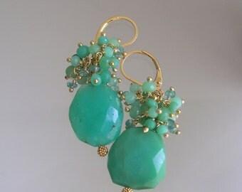 Chrysoprase Cluster Earrings, Green Tassel Dangles, Emerald, Leverbacks, Lightweight, Opaque Gems, Handmade, Gold Filled, Original Design