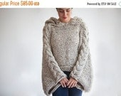 WINTER SALE 20% Tweed Beige Angel Sweater Capalet with Hoodie - Over Size Plus Size Tweed Beige Cable Knit by Afra