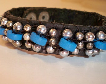 Turquoise & Leather Bracelet, Leather Beaded Bracelet with Turquoise Blue, Silver Beads Available in a Variety of Colors and Types of Beads