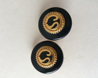 St John Designer Vintage Clip On Earring Black and Gold Classic Insignia Logo Earrings