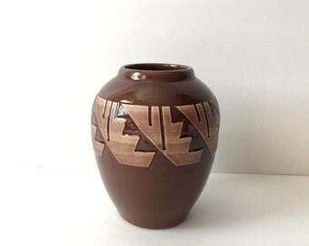 Vintage Sioux Pottery Vase Marie Black Tail Deer
