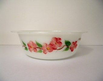 Fire King Casserole Dish Two Quart Peach Blossom Gay Fad Studios Handpainted Vintage Milk Glass Cottage Chic