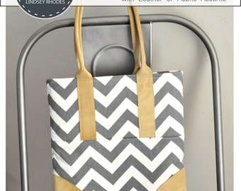 PDF Sewing Pattern / Luxe Tote / Leather Accent Handbag Pattern