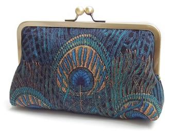 Blue peacock feather clutch bag, wedding purse, custom bridesmaid gift, navy royal, something blue, Liberty peacock