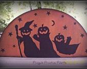 Halloween Primitive Pumpkin Wood Door Crown Home Decor Decoration
