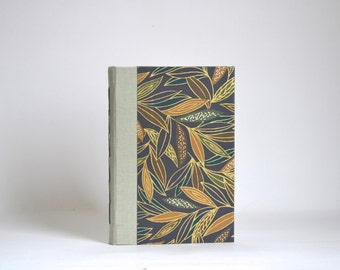 Pocket Size Hardcover Handbound Notebook, Gold, Green, Mustard, Navy Leaf Pattern Handbound Everyday Notebook, Thin Hardcover Journal