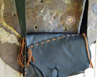 BIG OLE Pouch - Messenger - Drawing Note Book Carry - Thick Black Leather - Hand Built