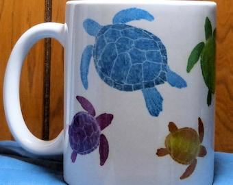 Turtle Mug, Sea Turtle Coffee Mug, Turtle Gift, Turtle Coffee Cup, Colorful Turtle, Loggerhead, Beach Gift, Beach Mug, Ocean Mug