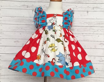 Dr. Seuss ruffle dress - handmade in the USA