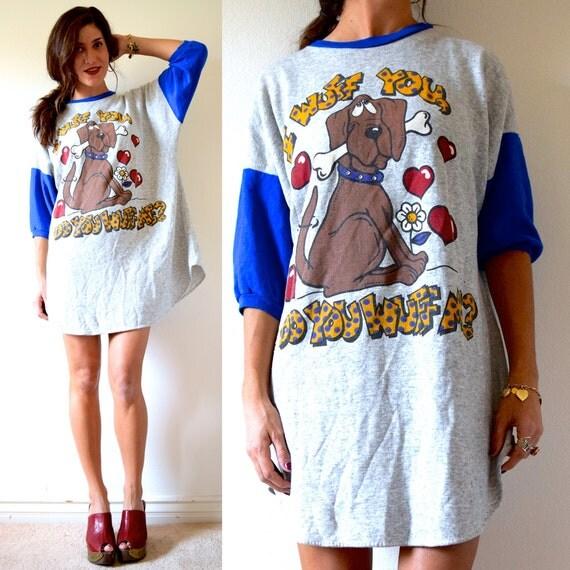 SPRING SALE/ 20% off Vintage 70s I Wuff You Baseball Fleece Oversized Novelty T Shirt Dress