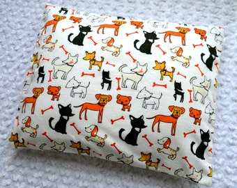 The Perfect Toddler Pillow ... Puppy Dogs & Red Bones on White Flannel  ... Original Design by Sew Cinnamon