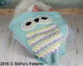 CROCHET PATTERN For Owl Baby Blanket, U.K, U.S.A, PDF 348 Digital Download