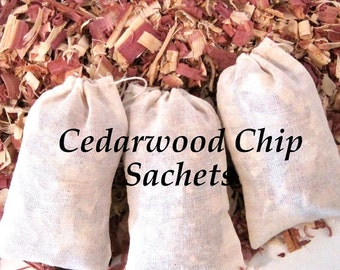 Cedar Wood Chips, Shavings Sachets - Moth, Insect Organic Repellent, Sweater Saver, Shoe, Drawers Closet - 3 Sachets