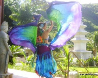 Belly dance costume two half circle double silk veils spinning flags worship flags  art flow toy MADE TO ORDER
