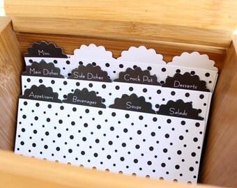 12 Recipe Box Dividers, Cardstock dividers, cardstock recipe dividers, recipe dividers --90000-ST04-000