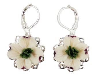 Dogwood Filigree Earrings - Dogwood Vintage Style Earrings, Dogwood Jewelry, White Dogwood Earrings