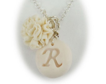 Personalized Carnation Initial Necklace - Carnation Jewelry Collection